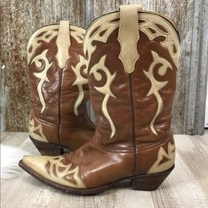 CORRAL Brown Leather Cowboy Western Boots Sz 8.5